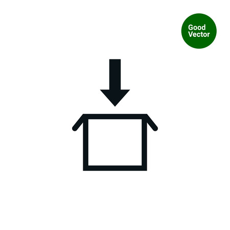 downward: Icon of download sign with open carton box and downward arrow