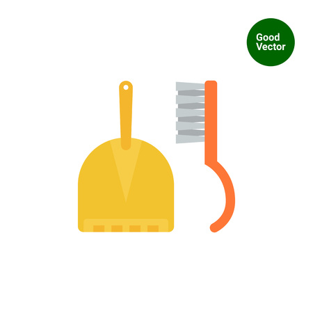 sweeping: Icon of dustpan and sweeping brush
