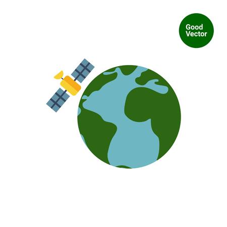orbital station: Multicolored vector icon of Earth globe and satellite