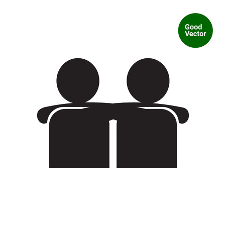 brotherhood: Vector icon of two men silhouettes embracing each other Illustration