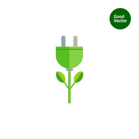 eco icon: Icon of stylized green electric plug flower
