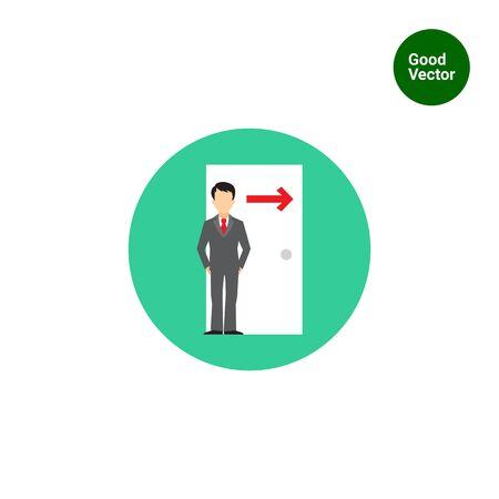 portone: Icona di uomo d'affari figura in piedi a porta con la direzione della freccia cantare