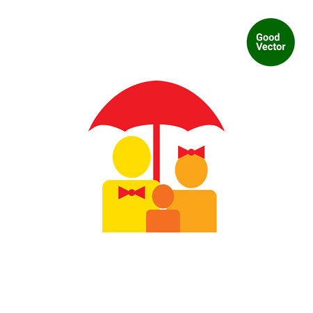 family members: Icon of family members silhouettes under umbrella