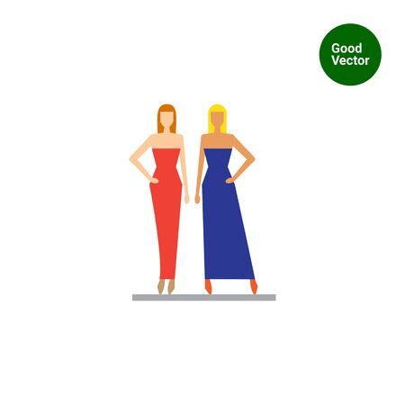 demonstrating: Icon of two fashion models demonstrating evening dresses