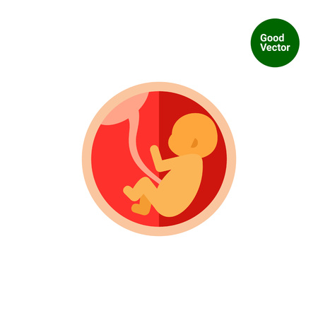 umbilical cord: Multicolored vector icon of fetus with umbilical cord