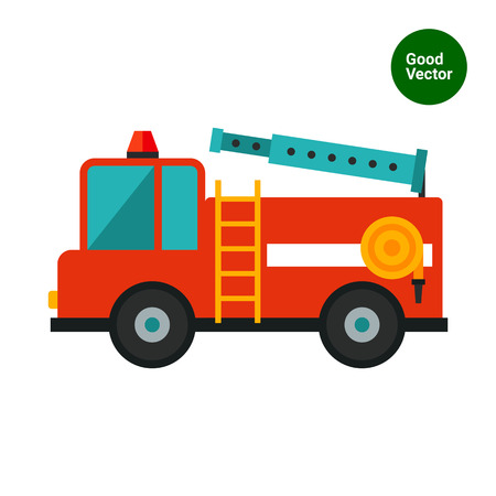 engine flame: Multicolored vector icon of red fire engine