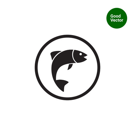 mediterranean homes: Icon of fish silhouette in circle