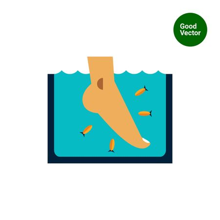 Multicolored vector icon of Garra Rufa fish peeling Illustration