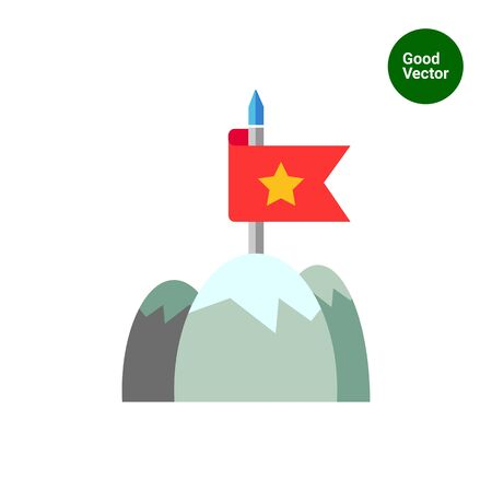 mountain top: Icon of red fluttering flag on mountain top Illustration