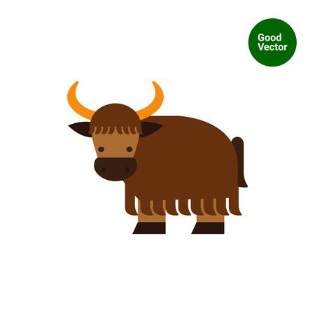 yak: Multicolored vector icon of brown cartoon yak