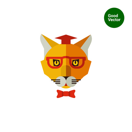 cat's eye glasses: Multicolored vector icon of cat wearing graduation hat, glasses and bow tie Illustration