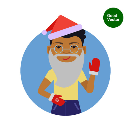 african american boy: Male character, portrait of African American boy wearing Santa hat and mittens