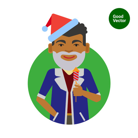 african american male: Male character, portrait of African American man wearing Santa costume, holding firecracker