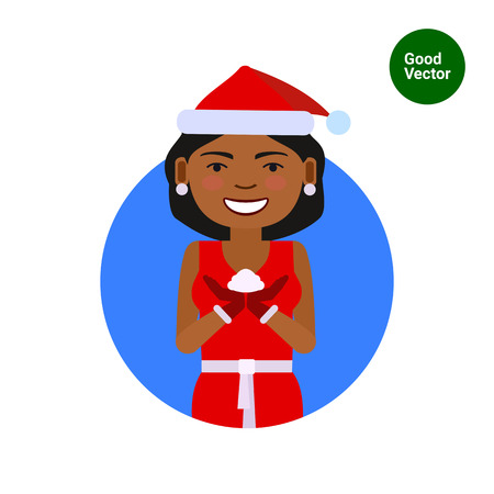 african woman hair: Female character, portrait of African American woman wearing red Santa costume, holding some snow
