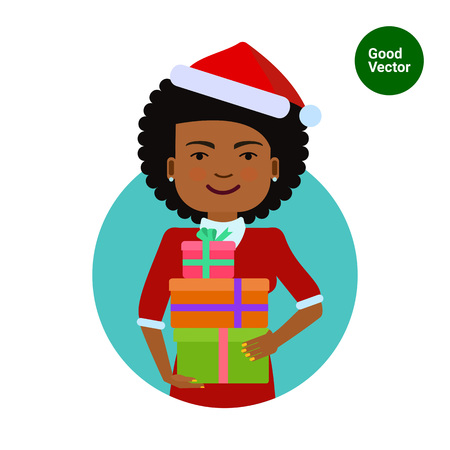 american background: Female character, portrait of smiling African American woman wearing Santa costume, holding gift boxes Illustration