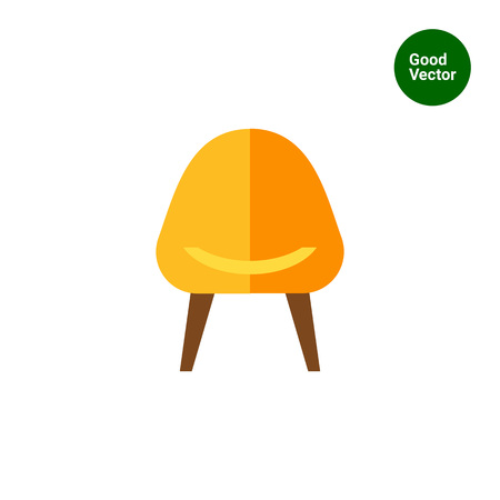 backrest: Multicolored vector icon of yellow armchair with brown legs Illustration
