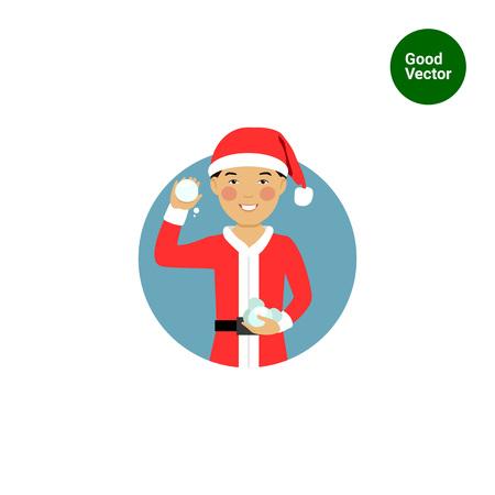palle di neve: personaggio maschile, ritratto sorridente asiatici ragazzo con costume da Babbo Natale, palle di neve in possesso di