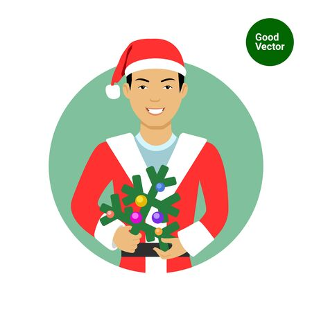 costume ball: Male character, portrait of smiling Asian man wearing Santa costume, holding Christmas tree