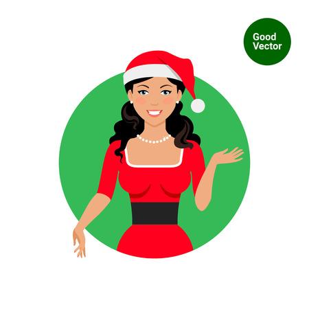 santa costume: Female character, portrait of smiling woman wearing Santa costume Illustration