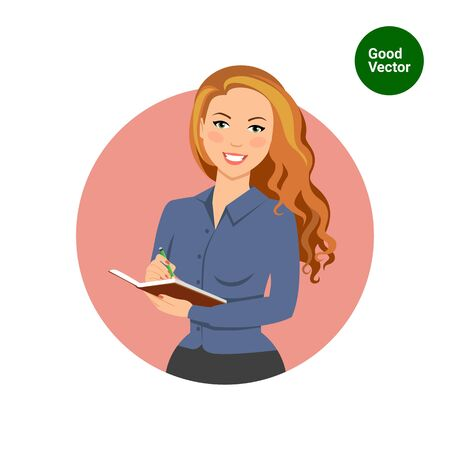 holding notes: Female character, portrait of smiling businesswoman holding notebook and making notes