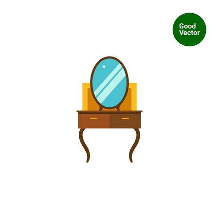 dressing: Multicolored vector icon of brown dressing table Illustration