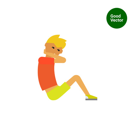 sit up: Multicolored vector icon of young man doing sit-ups