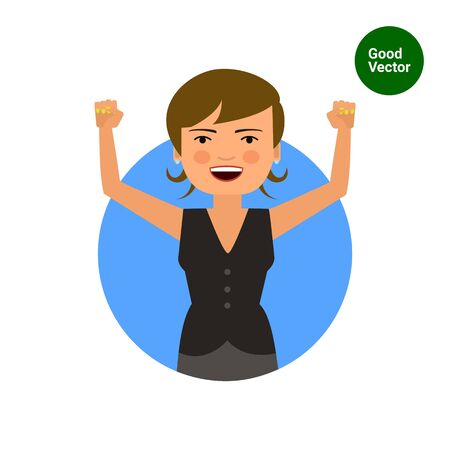 woman hands up: Female character, portrait of excited woman with her hands up