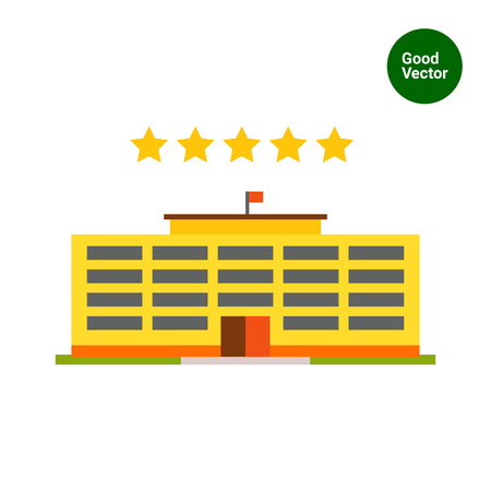 5 door: Multicolored vector icon of yellow hotel building and five stars