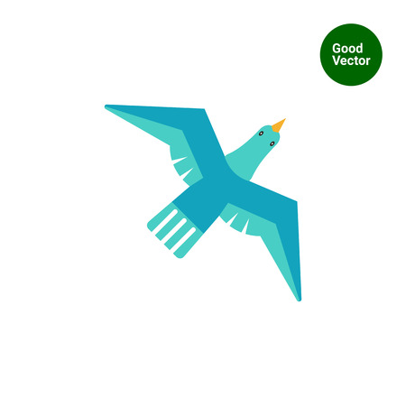 tweeting: Icon of flying blue bird Illustration