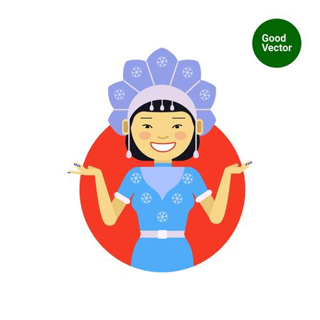 fancy: Female character, portrait of smiling Asian woman wearing fancy dress