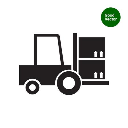 lift truck: Icono de la carga carretilla elevadora tenedor Vectores