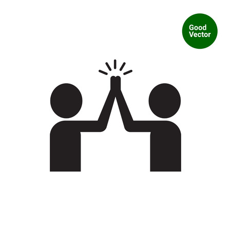 Vector icon of two men silhouettes giving high five Illustration
