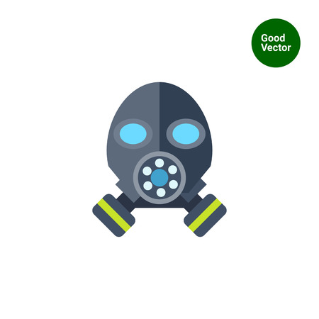 bio safety: Multicolored vector icon of gas mask, front view Illustration