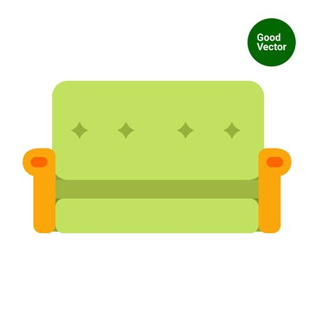 livingroom: Multicolored vector icon of green couch with yellow armrests Illustration