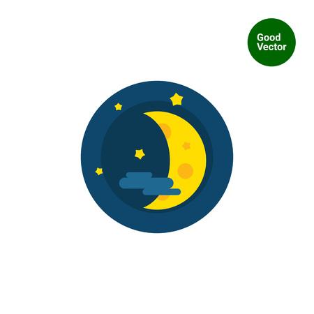half moon: Multicolored vector icon of half moon, stars and cloud Illustration
