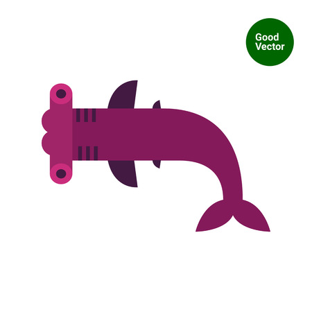 hammer head: Multicolored vector icon ofhammerhead shark, top view
