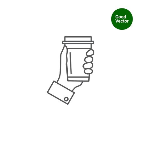 caf: Icon of mans hand holding disposable coffee cup