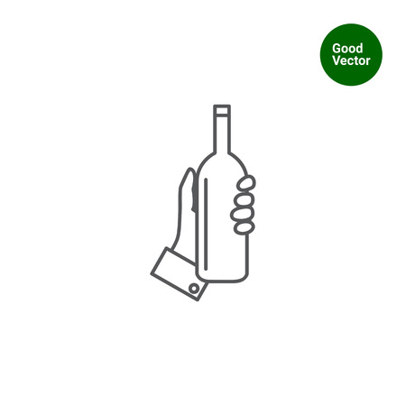 hand on chin: Icon of human hand holding bottle