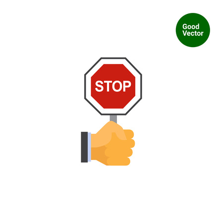 octogonal: Vector icon of human hand holding octagonal stop sign Vectores