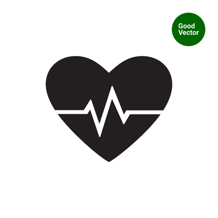 Vector icon of heart and electrocardiogram graph