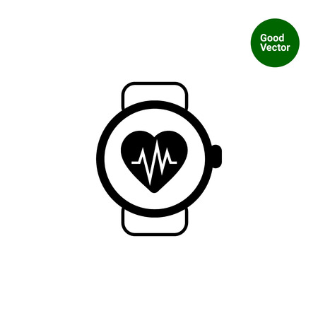 heart rate monitor: Icon of watch with heart rate monitor
