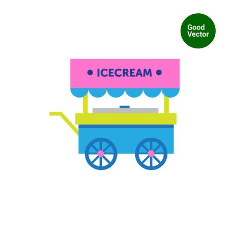 shed: Multicolored vector icon of ice cream cart