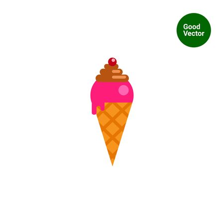 topping: Vector icon of ice cream with topping in waffle cone