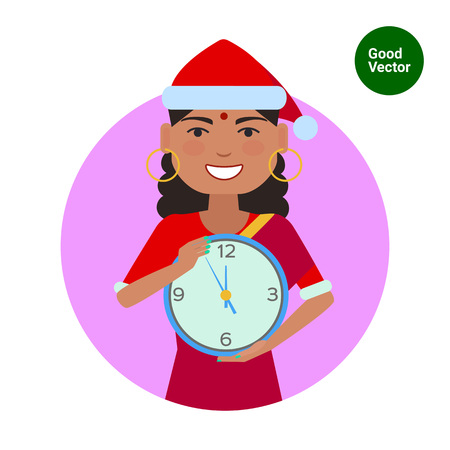 sari: Female character, portrait of Indian woman wearing Santa costume and holding clock Illustration