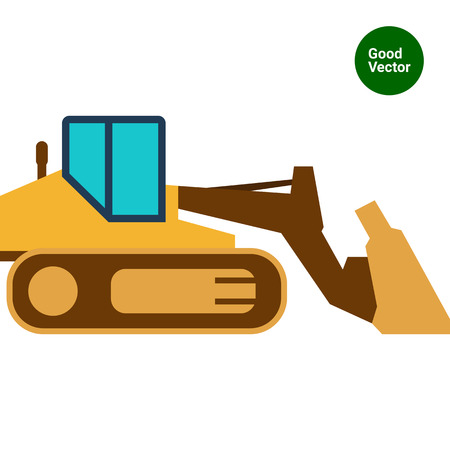 mover: Multicolored vector icon of industrial bulldozer with caterpillar wheels