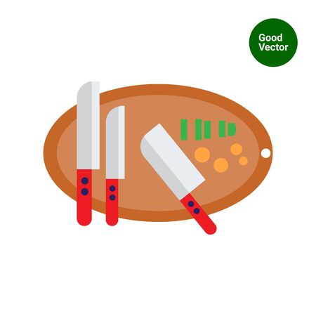 chopped: Vector icon of knives on oval cutting board with some chopped vegetables on it