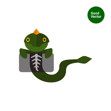 chest x ray: Multicolored vector icon of lizard making chest X-ray