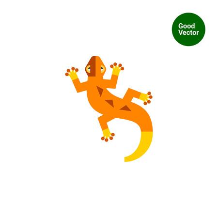 creeping: Multicolored vector icon of orange creeping lizard Illustration