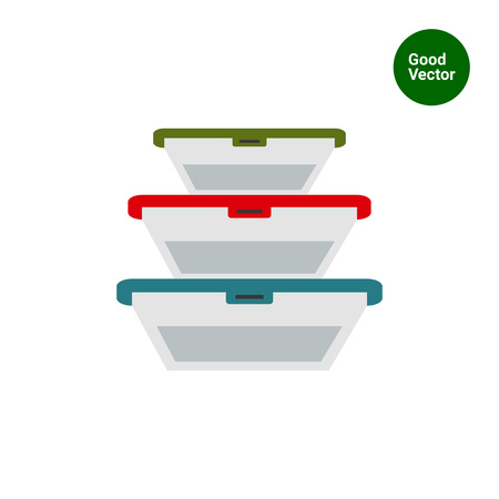 Multicolored vector icon of plastic lunchboxes set