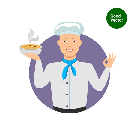 okay: Male character, portrait of smiling young chef holding bowl with soup, showing okay gesture